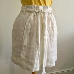 LOFT White Lined Linen Skirt with Tie Size M